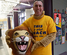 Rabbi Malkus as the lion mascot