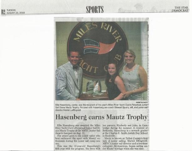 Ellie Hasenberg '22 Receives MRYC Perpetual Junior Sail