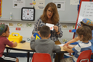Eve Margol teaches Gurim Junior Kindergarten students at Charles E. Smith Jewish Day School